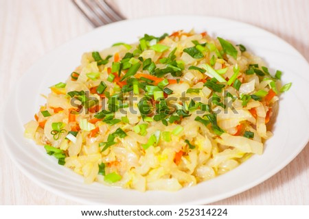 steamed cabbage - stock photo