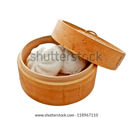 steamed Chinese bun in bamboo basket isolated on white background - stock photo