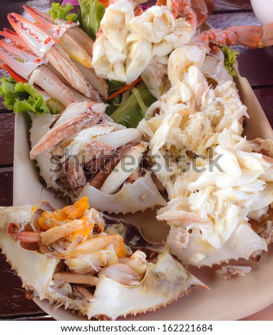 Steamed Crab in dish. - stock photo