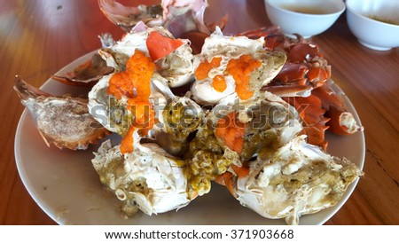 Steamed crab legs , seafood, thai style in thailand - stock photo