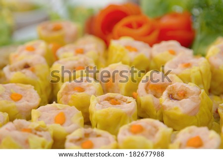 Steamed dumpling with shrimp , - stock photo