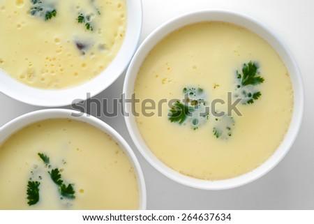 Steamed egg - stock photo