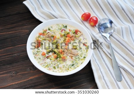 Steamed egg with vegetable,carrot,tuna,tomato and spring onion and pork.