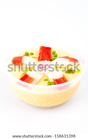 Steamed eggs on white background