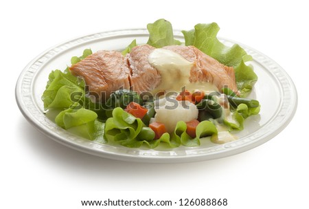 Steamed fillet of salmon with vegetables, lettuce and sauce on the white plate - stock photo