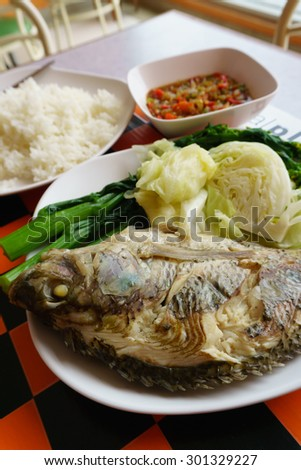 Steamed fish with  Boiled vegetables