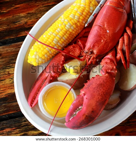 Steamed lobster with potatoes, corn and drawn butter - stock photo