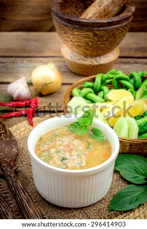 Steamed mackerel chili paste,Thai delicious dish,sour,salt,spicy serve with fresh vegetables.