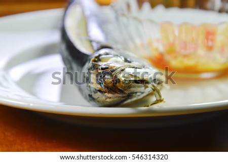 steamed Saba fish and spicy sauce on dish