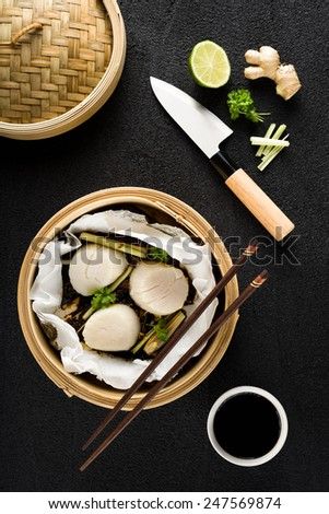 Steamed scallops top view - stock photo