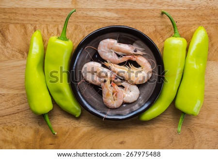 steamed shrimp with vegetable,  Thai Food - stock photo