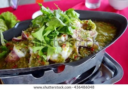 Steamed Squid in Lemon sauce - stock photo