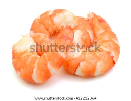 Steamed tiger shrimps isolated on white background