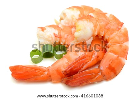 Steamed tiger shrimps isolated on white background - stock photo