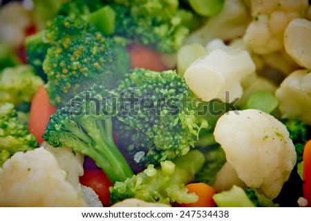 Steamed vegetables close up