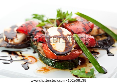 Steamed Vegetables - Paprika, Tomatoes, Zucchini and Buffalo Mozzarella Cheese - stock photo