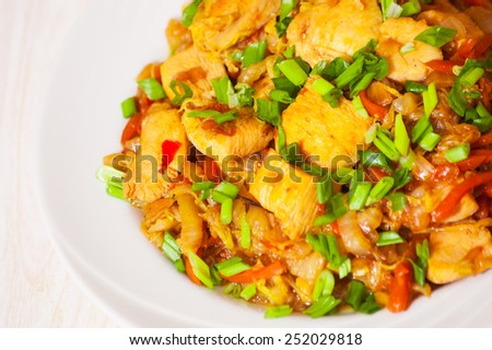 steamed vegetables with meat - stock photo