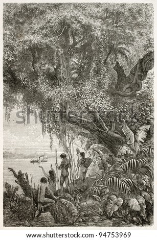 Steamer sailing in the Amazon river while natives watching it from the bank, old illustration. Created by Riou and Prevost, published on Le Tour du Monde, Paris, 1867 - stock photo