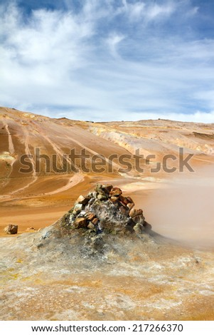 Steaming fumarole in Hverir, Namafjall. Myvatn Lake Area, North Iceland. - stock photo