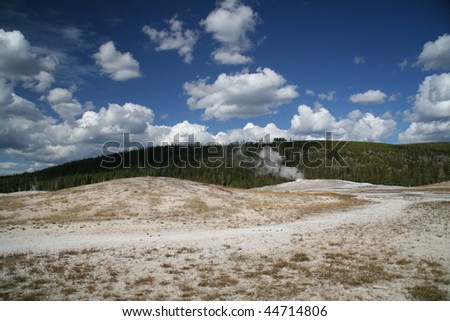 Steaming Geyser at Yellowstone - stock photo