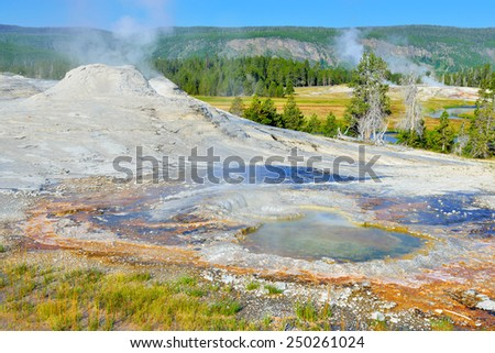 steaming geyser in Upper Geyser basin of Yellowstone National Park, Wyoming - stock photo