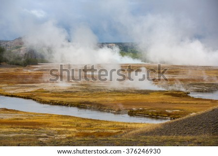 Steaming geysers Lamar Valley, Yellowstone National Park.