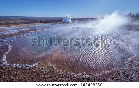 Steaming thermal pool in Geysir Park, Iceland.