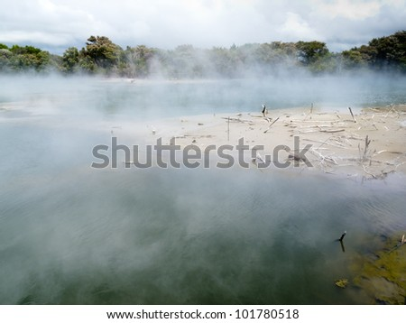 Steaming volcanic hot spring in Rotorua, New Zealand, giving off vapor and sulfuric gases and killing nearby trees and vegetation. - stock photo