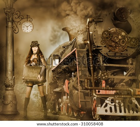Steampunk and retro-futurism style. Woman traveler holding suitcase on platform of Railway Station. Near old train and clouds of smoke - stock photo