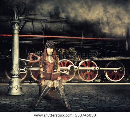 Steampunk and retro-futurism style. Woman traveler sitting on suitcase on platform of