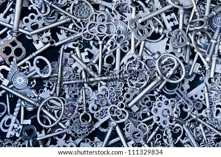 steampunk background within a lot of steel keys