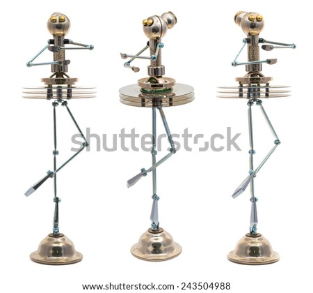 Steampunk ballerina. Cyberpunk style. Chrome and bronze parts. Isolated on white. - stock photo