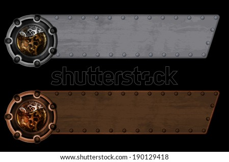 Steampunk banner template - stock photo