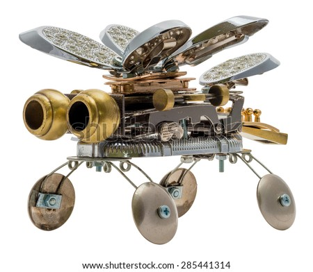 Steampunk bee. Cyberpunk style. Bronze and steel parts. Retro.
