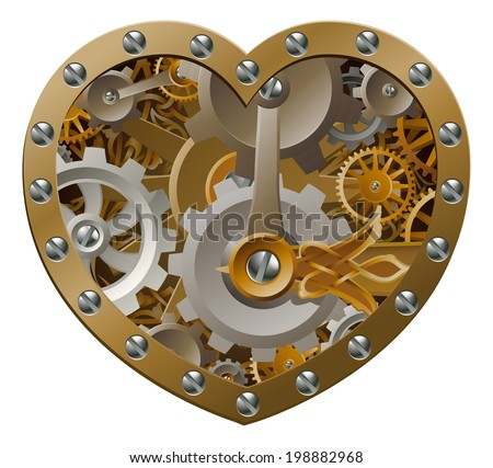Steampunk clockwork heart concept with a heart shape made of cogs and gears - stock photo