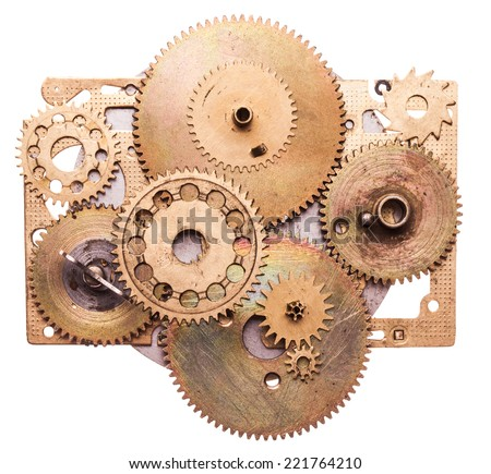 Steampunk details isolated on white. Mechanical clocks details, gears as a fantasy device - stock photo
