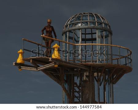 Steampunk female guard on platform of airship docking tower - stock photo