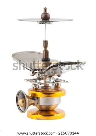 Steampunk flying machine. - stock photo