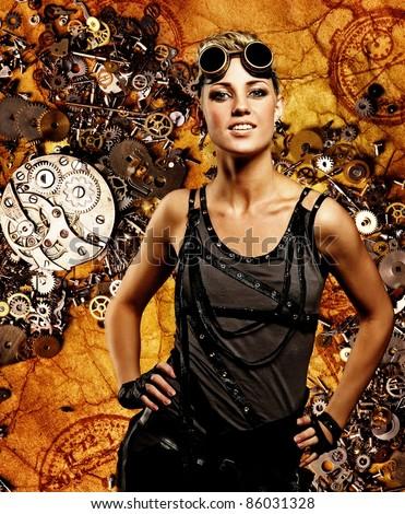 Steampunk girl over grunge background - stock photo