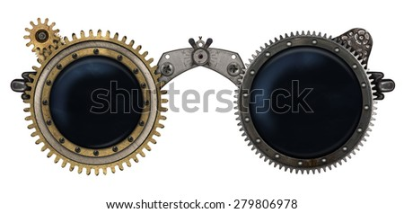 Steampunk glasses metal collage isolated on white background - stock photo