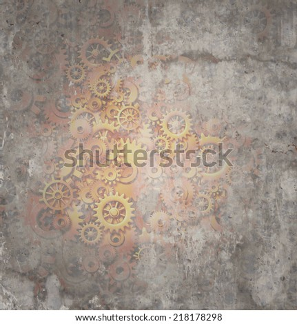 Steampunk grunge background as a rustic texture science fiction concept made of dirty metal copper gears and cogs as a technology symbol of futuristicscifi theme machine with copy space. - stock photo