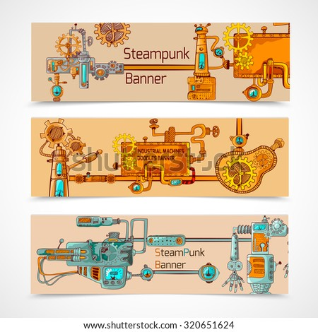 Steampunk horizontal banner set with engineer robotic machinery elements isolated  illustration - stock photo