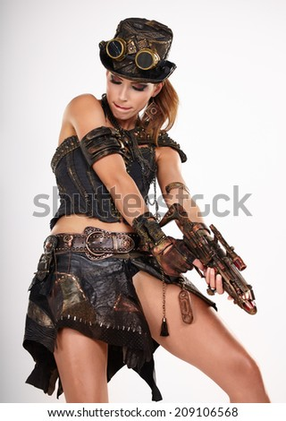 Steampunk isolated woman. Fantasy fashion for cover.  - stock photo