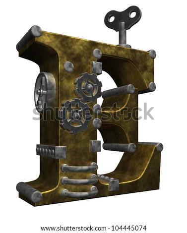 steampunk letter e on white background - 3d illustration - stock photo