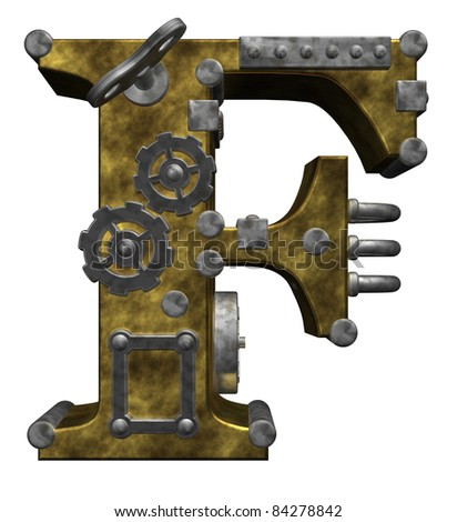 steampunk letter f on white background - 3d illustration