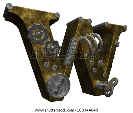 steampunk letter w on white background - 3d illustration - stock photo