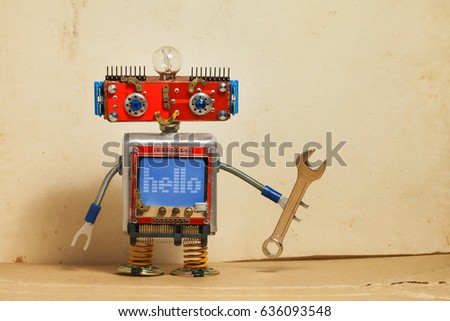 Steampunk machinery robot, smiley red head, blue monitor body. Handyman electrician retro toy, message hello display computer screen, hand wrench. Service repair fix concept. Vintage paper backdrop