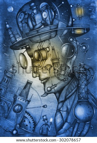 Steampunk Man Illustration