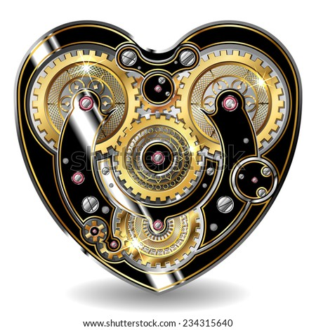 steampunk mechanical heart - stock photo