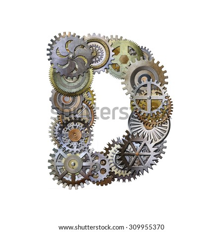 steampunk metallic gears font, letter d - stock photo